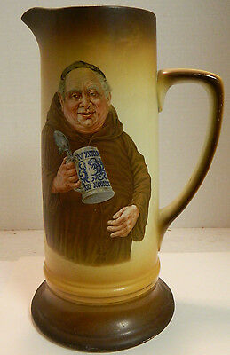 """Antique Warwick Friar Tuck Tall Pitcher (11.5"""" x 6.25"""") Excellent Condition"""