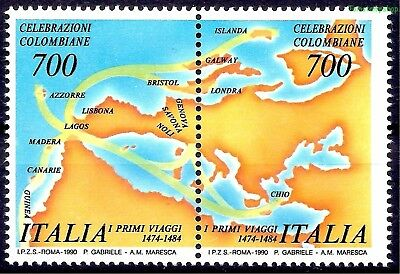 Italy 1990 Columbus's First Voyage Discovery Cartography Maps 2v set MNH