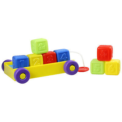 First Steps Childrens Pull Along Multicoloured Block Truck Kids Learning Toy New