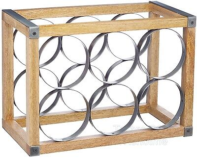 Industrial Kitchen Vintage Style 6 Bottle Metal / Wooden Wine Rack Holder