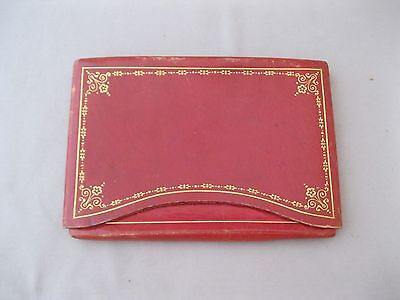 Vtg Antinori Leather Wallet/card Holder~Genuine Leather~Gold Embossing~Red