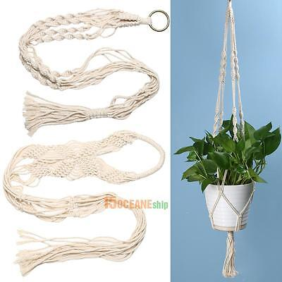 Durable Vintage Knotted Plant Hanger Basket Green Flowerpot Macrame Lifting Rope
