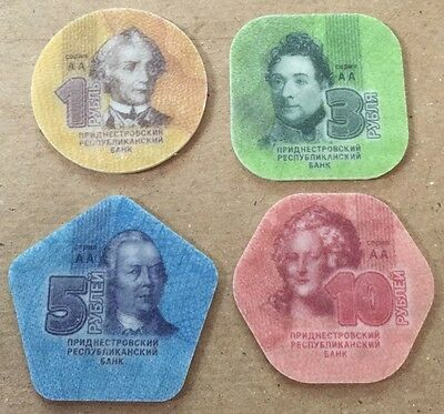 2014 Transnistria Set Of 4 Plastic Ruble Coins Moldova Free Shipping In Usa!