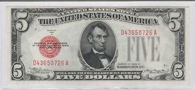 1928 B Red Seal $5 United States Note KL 1641 FR 1527 (0726)