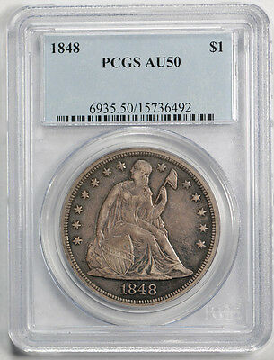 1848 $1 Liberty Seated Dollar PCGS AU 50 About Uncirculated Toned