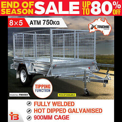 New 8x5 Full Welded Galvanised Box Trailer with 900mm Cage