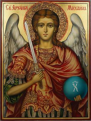 Hand-Painted Byzantine Orthodox Icon of Saint St Archangel Michael Russian Icon