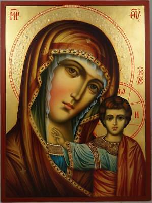 Hand-Painted Byzantine Orthodox Icon Theotokos Kazan Virgin Mary Kazanskaya