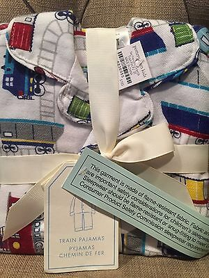 NWT POTTERY BARN KIDS Size 4 TRAINS FLANNEL PAJAMAS SOLD OUT AT POTTERY BARN
