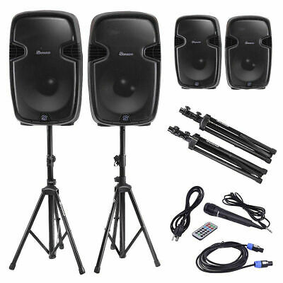 """Dual 12"""" Powered Speakers w/ Bluetooth + Mic + Speaker Stands + Control + Cables"""