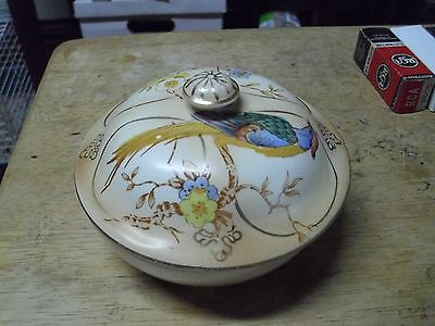 Crown Devon Pheasant 3 Piece Round Covered Butter Dish Circa Early 1900's!