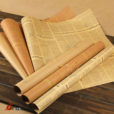 Vintage Newspaper DIY Gift Wrapping Paper Flower Bouquet Craft Paper Supplies 1X