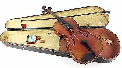 Stradivarius Violin Copy W/ Abalone Inlay Bow & Wood Case Early 1900 Czech