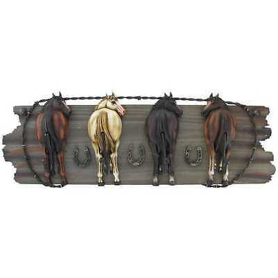 """Coat Hanger  """"Four Horse Hooks on Wood Plaque"""" Country Western Farm Home Decor"""
