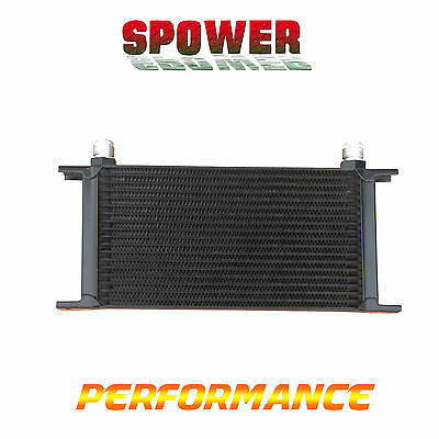 Universal 19 Row AN10 Engine Transmission Aluminum Oil Cooler Mocal Style Black