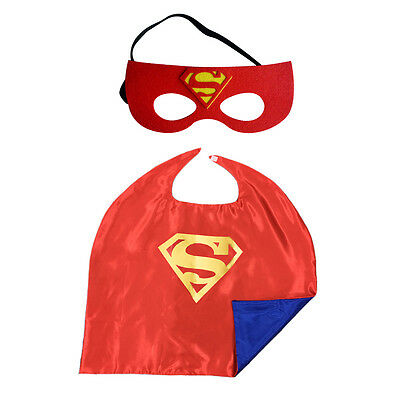 Superhero Dress Up Costumes Cape + Felt Mask Set for Kids Party USA Superman Red