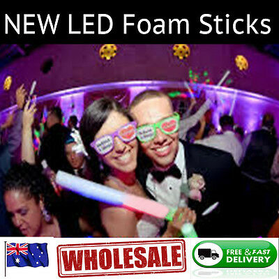 25x LED RGB Foam Stick Flashing Light Revel Party Light-up Glow Baton Wand 25