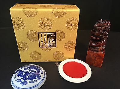 Seal Stone Chinese Imperial Seal Double Dragon Stamp W/ Ink