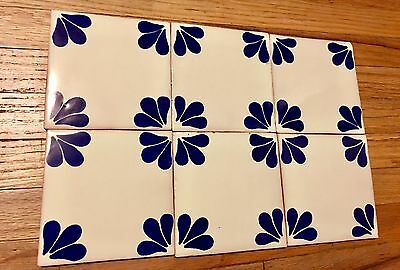 Vintage Spanish/Mexican Tiles Hand-Painted Blue & White Floral Petal Design 100p