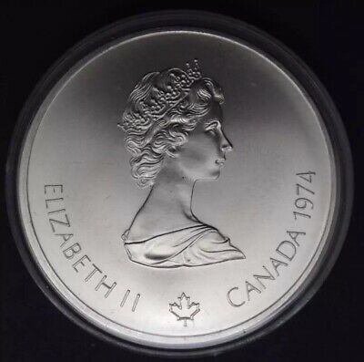 Queen Elizabeth Canadian 1976 Montreal Olympiade XXI $5 Silver Coin w/case 1974