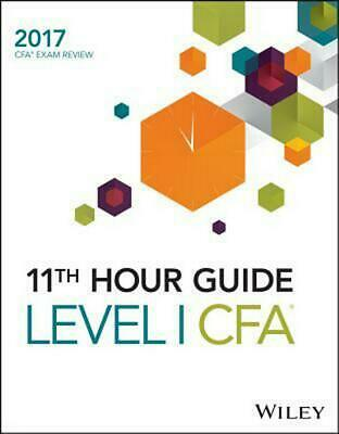 Wiley 11th Hour Guide for 2017 Level I Cfa Exam by Wiley Paperback Book Free Shi