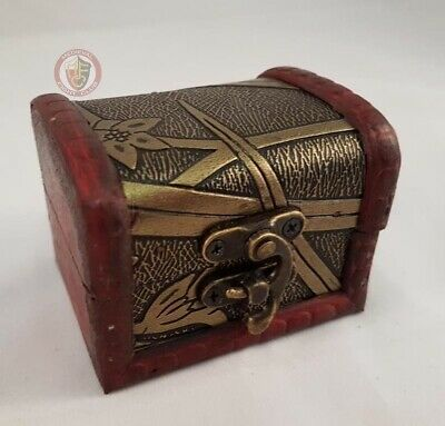 Wooden Pirate Chest Box Jewellery Keepsafe Table decoration Coins Storage Cards