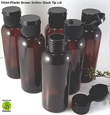 10 x Brown Plastic Empty Bottle Tip top lid Cosmetic Container Lotion Packaging