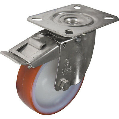 Atlas Workholders Ss Braked Swivel Plate 100Mm Polyurethane Tyre