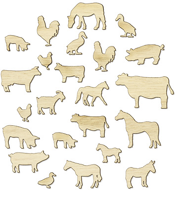 57 Mixed FARM ANIMALS - Size 10x25 High 15-27mm Wide - Ready 2 Color Your Choice