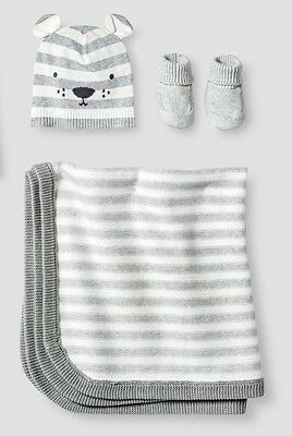 NEW Boy/Girl CAT & JACK Baby Organic Bear Hat Booties & Blanket Set Heather Grey