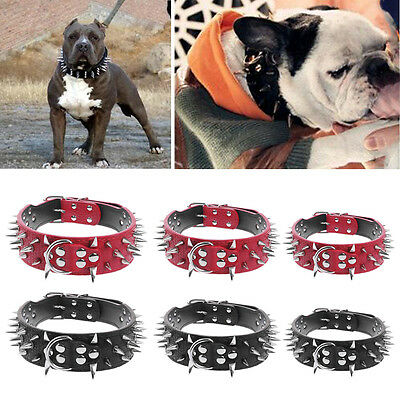 Sharp Spiked Studded PU Leather Collar for Large Dog Pet Pitbull Mastiff Durable