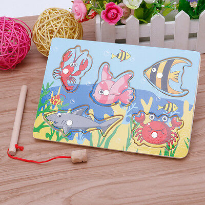 Kids Baby Magnetic Fishing Game + 3D Jigsaw Puzzle Board Wooden Educational Gift