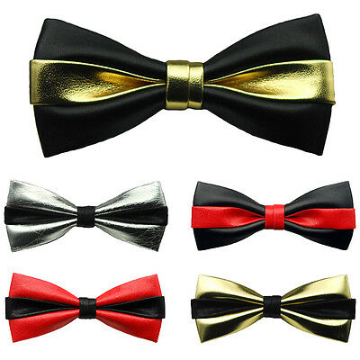 Hot Sale Mens High Quality Double Color Leather Bowtie Party Pre-tied Bow Ties