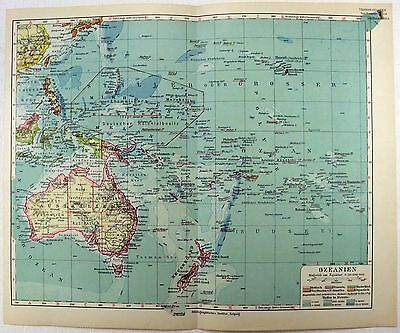 Original 1924 German Map of Colonial Oceania by Meyers