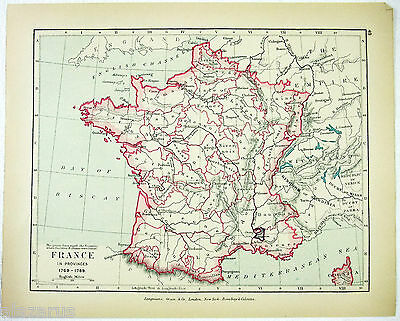 Vintage Map of France in Provinces 1769-1789 by Longmans Green 1910