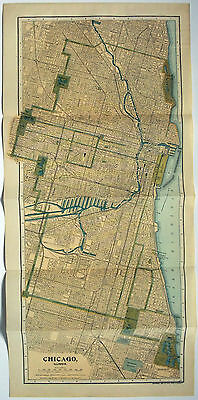 Large Original 1903 Street & Railroad Map of Chicago, IL by Dodd Mead & Company