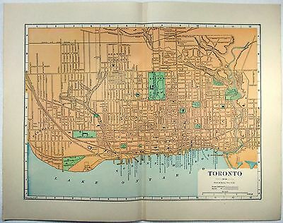 Original 1891 Street & Railroad Map / Plan of Toronto Ontario by Hunt & Eaton