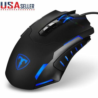 7200DPI USB Wired Gaming Mouse Mice 7 Buttons LED for PC Laptop Mac Pro Gamer US