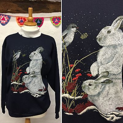 Vintage Navy Blue Sweatshirt Rabbit White Collar (Vs47) Oversized Size 8 10 12