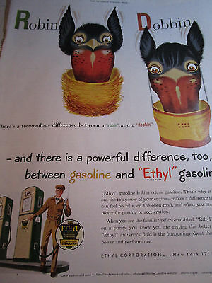 Vtg 1950 Ethyl Gasoline Gas AD Robin & Dobbin Doberman Pinscher/Robin Difference