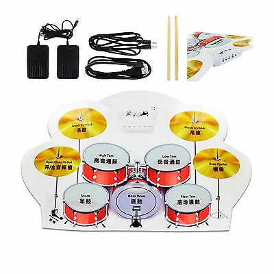 Bateria Electronica Enrollable Pad De Practica Estudio Roll Up Drum Kit