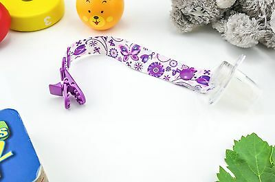 Hand Made Butterfly Baby Dummy Clip Pacifier Clips Soother Dummy Chain Holder