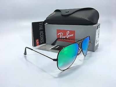 RAY BAN AVIATOR FLASH GRADIENT RB3025 002/4J 58 Black / Green With/G-15 Lens