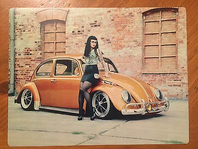 Tin Sign Vintage Volkswagen VW Bug Slammed With Model