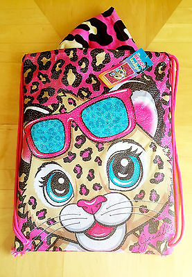 New Justice Beach Boutique Pink Cat Leopard Beach Towel In A Bag Set NWT