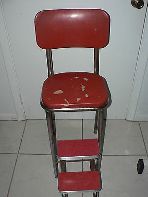 Antique Vintage Step Stool Chair Country Steel Metal Mid Century Chrome