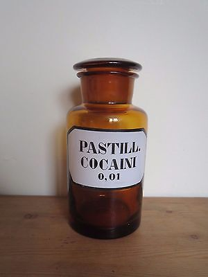 "Antique blown glass apothecary pharmacy jar 'Pastill. Cocaini"" RARE"
