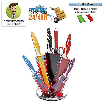 SET DI COLTELLI ROYALTY LINE RIVESTITI CON CEPPO 7pz COLORATI ANTIBATTERICI