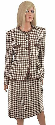 Vintage 80s 2 pc Skirt Suit Office Career Secretary Houndstooth Checker Plaid 10