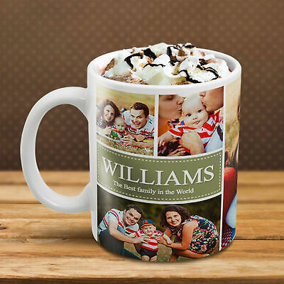 PERSONALISED COLLAGE MUG Add YOUR Many PHOTO IMAGE TEXT Custom Tea Cup Design!